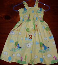SZ 0 POOH, PIGLET, EEYORE, TIGGER COTTON DRESS HANDMADE IN AUSTRALIA BRAND NEW
