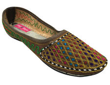 US SEQUIN BRIDAL FLATS WEDDING SHOES INDIAN DESIGNER SHOES PUNJABI JUTTI   DD724