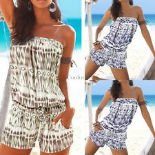 Sexy Women Summer Slash Neck Off Shoulder Print Short Jumpsuit Playsuit CO99