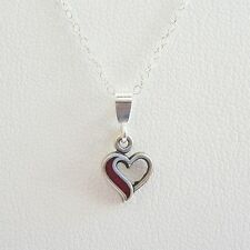 Red Open Heart Sterling Silver Pendant Charm and Necklace- Free Shipping