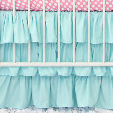 "Stylish 1-QTY Multi Ruffle Bed-Skirt/Valance Drop 8"" To 20"" Aqua Blue Solid"