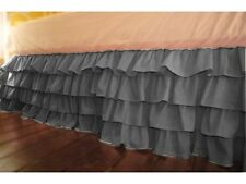 "Stylish 1-QTY Multi Ruffle Bed-Skirt/Valance Drop 8"" To 20"" Dark Grey Solid"