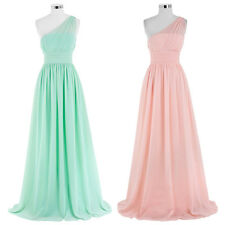 Long Chiffon Evening Ball Party Gown One Shoulder Formal Prom Bridesmaid Dress