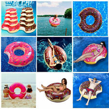 Cute 3D Donut Pool Toy Inflatable Float Swim Ring Swimming Raft FOR Adult Child