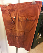 Merona-Mens-Shorts-Size-36-Rust-Cargo-5-Pockets-Relaxed-Fit-Flat-Front-Cotton