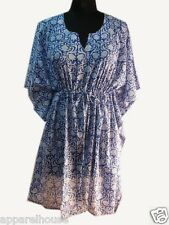 Indian Cotton Block Printed Floral Kaftan Sexy Beach Dress Plus Size Tunic Maxi