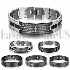 Mens Silver Black Stainless Steel Cross Bible Verses Wristband Bracelet Bangle