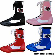 Leather Boxing Boots Shoes Rubber Sole Boots Long Ankle Junior & Adults