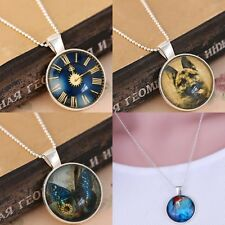 Vintage Clock Dog Gem Time Pendant Necklace Silver Long chain Sweater Women Gift