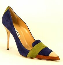 MANOLO BLAHNIK Multi-Color Suede Stiletto High Heel Pointed Toe New 41.5