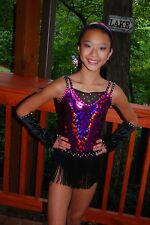 Black purple competition dance costume CS CM CL tap jazz Proud Mary Flapper