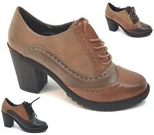 WOMENS LADIES CASUAL LACE UP OFFICE SMART OXFORD LOAFERS BROGUES SHOES SIZE 3-8