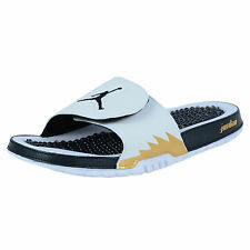NIKE JORDAN HYDRO V RETRO SLIDE SANDALS WHITE BLACK METALLIC GOLD 555501 153