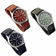 Men's Army Military Date Luminous Nylon Canvas Sport Quartz Analog Wrist Watch