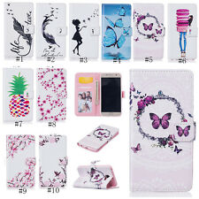 Magnetic Painted Flip Stand Card PU Leather Wallet TPU Case For iPhone Samsung
