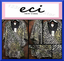 ECI NEW YORK NEW Paisley Scoop Rayon Multi-Color Short-Sleeve Blouse Top