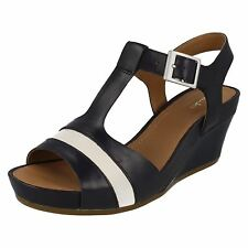 Ladies Clarks Rusty Rebel Navy Leather Smart Wedge Sandals