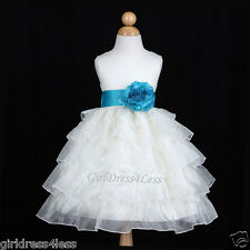 IVORY/TURQUOISE BLUE TIERED ORGANZA WEDDING FLOWER GIRL DRESS 12M 2 3/4 5/6 8 10