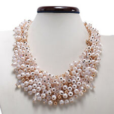 Multi-Color White Rhinestone Crystal Statement Bib Chunky Chain Necklace 16.5""
