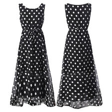 Boho Women Chiffon Sleeveless Polka Dot Summer Beach Maxi Long Dress Glittery