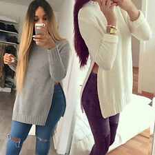 Women Posh O-neck Long Sleeve Side Split Long Knitwear Top Pullover Outwear