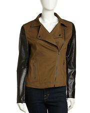 Romeo & Juliet Couture Motorcycle Jacket with Faux Leather Sleeves-NWT