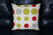Cushion cover Handmade Lime green poppy red grey spots circles on off white