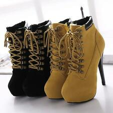 Fashion Womens Stiletto Lace Up Platform Round Toe High Heel Ankle Boots Shoes