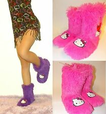 NWT Sanrio Hello Kitty Fluffy&Furry Shag Boot Slippers for WOMEN, 5/6  PINK
