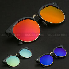 Vintage Inspired Classic Clubmaster Round Shade Sunglasses Horned rim UV400