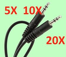 "5-20x 2.5"" 3.5mm Male to Male M/M Stereo Audio Cable PC MP3/4 iPhone/iPad/iPod"