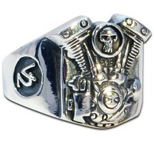 Ring Mens Biker Skull sterling silver Rock n Roll V2 Engine handmade jewelry 925