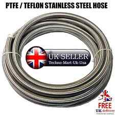PTFE / TEFLON STAINLESS STEEL BRAIDED FUEL / OIL HOSE @UK