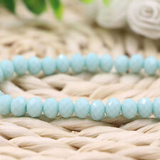 20/50/100X Light Blue Faceted Glass Crystal Spacer Loose Bead Finding 4/6/8/10MM