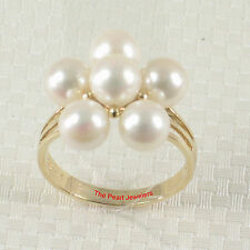 14k Yellow Solid Gold AAA 6-6.5mm Cultured Pearl Cocktail Ring TPJ