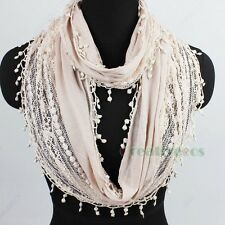 Fashion Women's Cotton Hollow Out Floral Dot Lace Trim Tassel Infinity Scarf New
