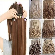 100% Real as human one piece full head clip in on hair extensions curly straight