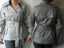 New Womens Ladies Double Breasted Tie Belted Short Length Trench Mac Jacket Coat