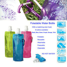 2X Vapur 16-oz Foldable Plastic Water Bottle With Hook Portable Camping Travel