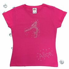 Girls Personalised Sparkly Gymnastics Diamante Tshirt Bling Top White Black Pink