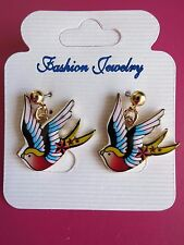 Swallow Sparrow Earrings 50s Nautical Sailor Rockabilly PinUp Red Blue Yellow