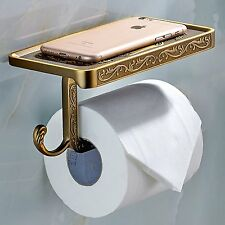 Retro Toilet Roll Bathroom Paper Rack w/ Phone Shelf Wall Mounted Holder Hook