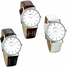Fashion Casual Analog Big Dial Mens Womens Leather Band Quartz Wrist Watch Gift