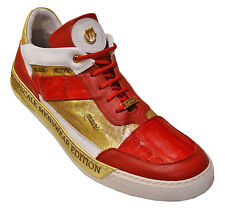 Mauri ITALY Custom Red/Gold Lace Up Low Top Casual Sneakers Shoes