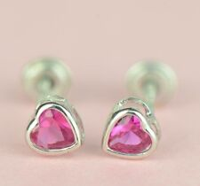 14K Solid White Gold Heart Stud Earrings Birthstone