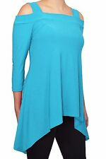 Avital Solid Cold Shoulder Trapeze Shirt Stretch Top Flattering Fit Long Tunic