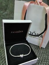 Genuine Pandora Moments Silver Bracelet with Heart Clasp 17-23cm with box hot