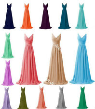 New Long Chiffon Prom Bridesmaid Dresses Evening Ball Gown Party Stock Size 6-20