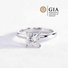 GIA Certified 4 Prong Princess Cut Solitaire Diamond Engagement Ring Platinum
