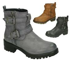 LADIES WOMENS WORKER COMBAT BIKER MILITARY FLAT ZIP ANKLE BOOTS SHOES SIZE